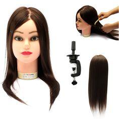La cabeza de formación práctica maniquí de cabello real abrazadera de la peluquería de 18 pulgadas
