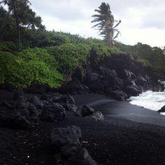 Black sand beach off the Hana Hwy - Maui