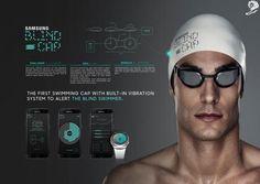 Un gorro de natación que permite nadar cómodamente a las personas invidentes  #esalud #wearables