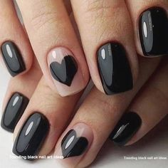 Discover new and inspirational nail art for your short nail designs. Valentine's Day Nail Designs, Black Nail Designs, Short Nail Designs, Acrylic Nail Designs, Nails Design, Easy Nails, Simple Nails, Cute Nails, Pretty Nails