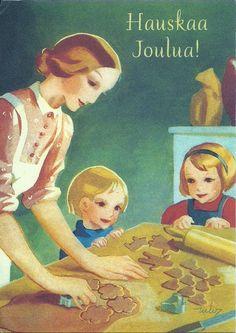 Vintage Martta Wendelin Christmas Card ~ Christmas Baking with the Munchkin's! Christmas Past, Christmas Pictures, Vintage Christmas, Xmas, Christmas Baking, Christmas Cards, Vintage Cards, Vintage Postcards, Nostalgic Images