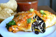 Black Bean & Spinach Chicken Enchiladas from Rachel Schultz