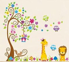 Wall Decal jungle forest lion and giraffe , squirrel owl on colorful tree wall stickers for nursery nursery bedroom: Amazon.co.uk: Kitchen & Home