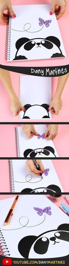 Faça você mesmo uma linda capa de caderno de panda fofinho, cute, kawaii , fofo, volta às aulas, DIY, do it yourself, Back to school, regreso a clases, Notebook