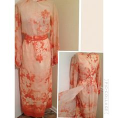 Vintage cotton Floral print maxi dress with removable Duster vest best fit 5/6