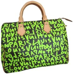 Pre-owned Louis Vuitton Graffiti Speedy 30 Brown/tan/ Green Satchel ($1,770) ❤ liked on Polyvore featuring bags, piping bag, green satchel handbag, satchel bag, tan bag and brown satchel handbag