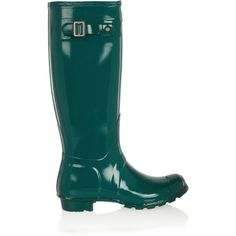 Hunter Original Tall Gloss Wellington boots (3.865 RUB) ❤ liked on Polyvore featuring shoes, boots, emerald, hunter boots, wellies boots, weatherproof boots, tall rain boots and round toe boots