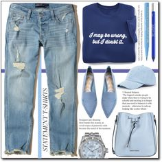 How To Wear Statement T.shirts (casual) ! Outfit Idea 2017 - Fashion Trends Ready To Wear For Plus Size, Curvy Women Over 20, 30, 40, 50