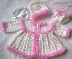 Hand Knitted 3 Pce Matinee Pram Set 21/23 by knittingpretty0115