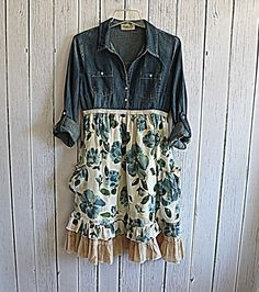 shabby chic, mori girl, recycled denim, clothing, cowgirl, prairie, floral, flowing, hand sewn