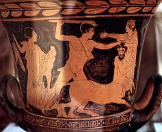 Detail, red-figure vase painting: Herakles attempts to rescue Deianeira from centaur Nessus detail, Deianeira and Nessus Agrigento Museum.