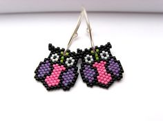 Earrings - Girly Owls - Bright Pink, Purple and Light Green