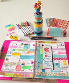 Coloursnme.  Colorful and decorative planner page.  Lots of washi and stickers!