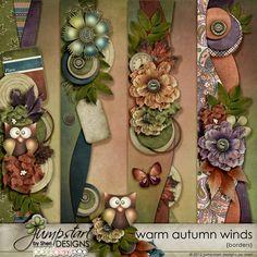 Warm Autumn Winds ~ Borders ~ by Jumpstart Designs Digital scrapbook kits $
