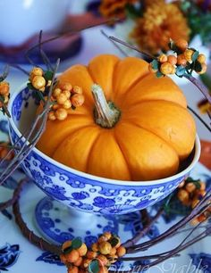 Blue and white decor is a new take on the tradition Thanksgiving table.