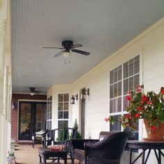 Beadboard porch ceiling = paint ours so that we can see it. White or trim blue