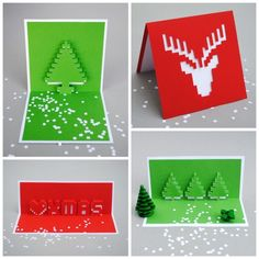 DIY 4 Holiday Popup Cards Tutorial and Templates from Minieco here.