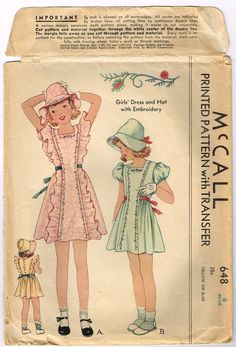 Original Darling Girls Dress and Hat with Embroidery Pattern Size 6 McCall 648 - Baby clothing boy, Baby clothing girl, Gender neutral and baby clothing Vintage Kids Clothes, Vintage Girls, Vintage Children, Vintage Dresses, Vintage Outfits, Vintage Fashion, Vintage Clothing, Childrens Sewing Patterns, Mccalls Patterns
