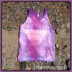 #wearableart #handmade #bleachedapparel #fashion #tank #style #unisex #tiedye #triangle #purple #summer2015 https://www.etsy.com/listing/231537657/purpletie-dyed-unisex-triangle-tank-top