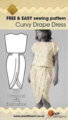 tutorial for 2 hour top sewing pattern which will help you make this curvy drape dress. Sewing Patterns Free, Free Sewing, Clothing Patterns, Dress Patterns, Free Pattern, Drape Dress Pattern, Coat Patterns, Sewing Hacks, Sewing Tutorials