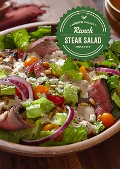 This steak salad is not to be messed with. It combines steak & feta cheese with fresh veggies and Honey BBQ Ranch. And who said salads aren't fun?!