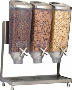 Rosseto Ez Pro 3 Dry Goods Dispenser by Rosseto. $524.25. Funnel system plus top cover. Dry food dispenser. Plexiglass containers. The EZ- PRO 3 is a triple dispenser holding 1.0-Gallon each. The units feature a stainless steel lid and a stainless steel catch tray and frame. Each container comes with 6-wing paddle wheel dispenses approximate one ounce portions, and two removable labe