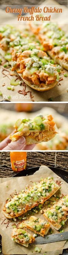 Cheesy Buffalo Chicken French Bread - Krafted Koch - An easy weeknight dinner recipe loaded with bold flavor!