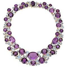 Verdura Amethyst, Aquamarine, Diamond and Gold Necklace Sapphire Necklace, Amethyst Jewelry, Gems Jewelry, Jewelry Gifts, Fine Jewelry, Purple Necklace, Gold Jewellery, Jewelry Bracelets, Jewellery Shops
