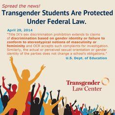 Big News! DOE Guidance Says Transgender Students Protected Under Federal Law | Transgender Law Center
