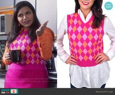 Mindy's pink and orange argyle sweater on The Mindy Project.  Outfit Details: https://wornontv.net/57014/ #TheMindyProject