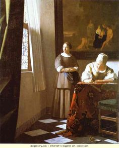 Jan Vermeer. Lady Writing a Letter with Her Maid. Olga's Gallery.
