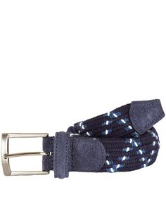 Anderson's Navy Zigzag Elasticated Woven Belt | Belts by Anderson's | Liberty.co.uk