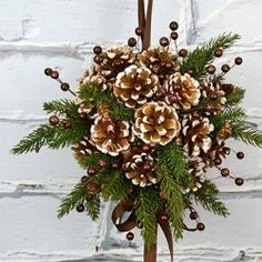 diy kissing ball with pine cones crafts unleashed within pinecone christmas crafts Christmas Pine Cones, Easy Christmas Crafts, Rustic Christmas, Christmas Projects, Simple Christmas, Christmas Wreaths, Christmas Decorations, Christmas Ornaments, Natural Christmas