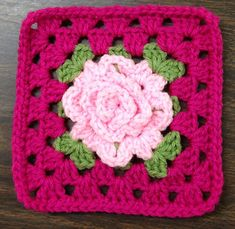 Ravelry: Project Gallery for Granny Rose Square, pt. Rose pattern by Apple Blossom Dreams Crochet Flower Squares, Crochet Squares Afghan, Granny Square Crochet Pattern, Crochet Flower Patterns, Afghan Crochet Patterns, Crochet Granny, Crochet Motif, Crochet Designs, Crochet Flowers