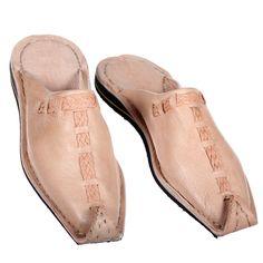 """Die echten Leder-Babouche aus Marokko, werden von Hand hergestellt. """"Aladin"""" natur Gr.37-46. www.albena-shop.de"""