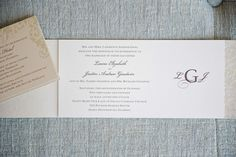 Elegant Ivory Wedding Invitation with Purple Text and Monograph with Gold Enclosures   Tampa Wedding Photographer Marc Edwards Photographs