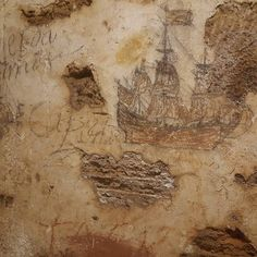 By far the coolest piece of #history I saw today! The wall #drawings of prisoners in the dungeon of San Cristobal. Part of the old city's defense beginning when Spain claimed the territory in the early 1500s. Construction on the fort continued all the way up until 1960. #puertorico #vacation