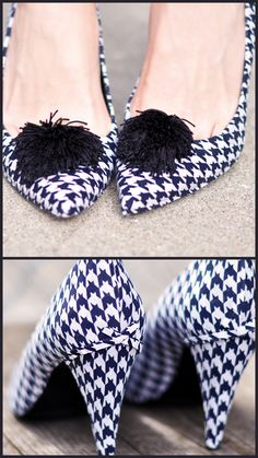DIY Houndstooth fabric covered pumps. There is no way I will ever do this, but I do LOVE the look of these fabulous shoes!