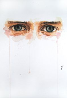 """s a classic saying that """"the eyes are the windows to the soul,"""" and Spanish artist Jone Bengoa conveys this sentiment perfectly in her Watercolor Face, Watercolor Portraits, Watercolor Illustration, Watercolor Paintings, Watercolor Artists, Abstract Paintings, Oil Paintings, Watercolors, Landscape Paintings"""