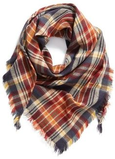 Perfect Fall Scarf!!! BP. 'Heritage Plaid' Triangle Scarf