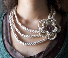 """""""Easiest crochet necklace ever"""" Beautiful Crochet necklace, seems like a great first project to me!"""