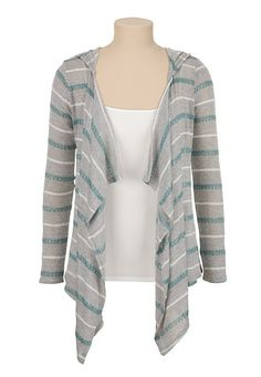 Open Front Striped Hooded Cardiwrap (original price, $32) available at #Maurices