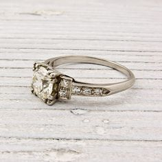 Vintage .92 Old European Cut Art Deco Diamond Engagement Ring