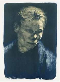 Kathe Kollwitz. Brilliant use of tone. The light placement suits the portrait perfectly! The texture, form, and linework also contributes to the look and feel of the artwork. Very moody.