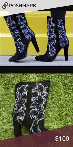 Zara embroidered western style boots Never worn, brand new, high heeled embroidered, faux suede boots Zara Shoes Heeled Boots
