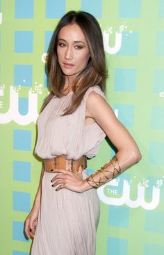 Maggie Q. Her makeup and jewelry take what would have been a daytime look straight into a fancy, nightime look