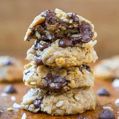 Soft & Chewy Oatmeal Coconut Chocolate Chip Cookies - NO BUTTER & no mixer used in these easy cookies dripping with chocolate!