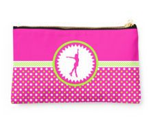 Studio Pouch -Figure Skating - Pink and Green Polka-Dots by gollygirls