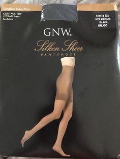 Vtg GNW Silken Sheer Pantyhose Longline Extra Firm Control Top Medium Black  | eBay
