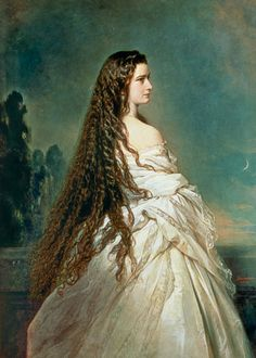 Sisi with her hair down portrait by Franz Xaver Winterhalter (1805-73). Elisabeth of Austria (due to the movie also known now as Sissi, 1837-1898)